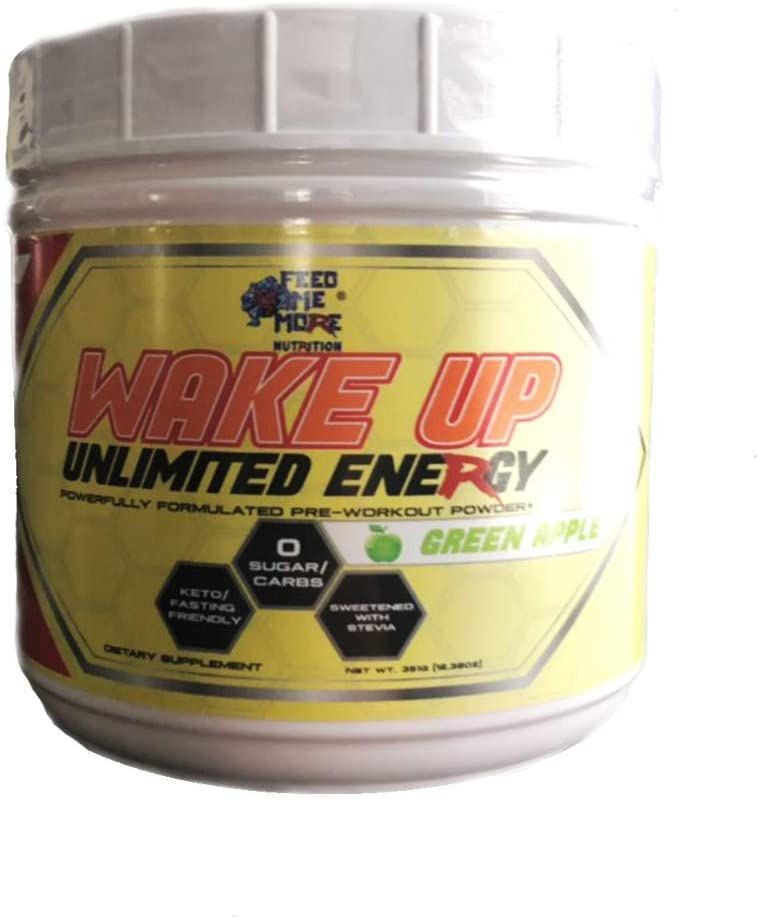 Wake UP Unlimited Energy Stevia 0 Calorie Pre Workout Powder Supplement Drink – 1 Energy Powder,Non GMO, All Natural Gluten Free Fasting Keto Friendly Green Apple 30 Servings