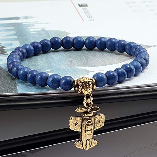 KKTOOL Aircraft Cross Pendant 6Mm Natural Stone Beads Elastic Religious Bracelet Ladies Yoga Fitness Wristband Jewelry Gift