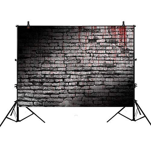 Allenjoy 7x5ft Photography Backdrop Background Vintage Splatter Dripping Bloody Brick Wall Dark Horror Scary Halloween Festival Props Photo Studio Booth ()