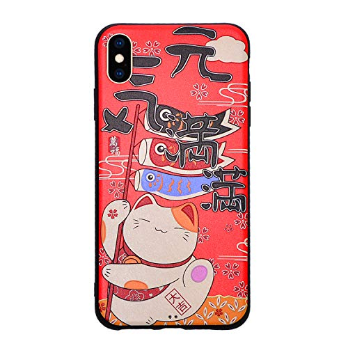 IP X/XS Case,Japanese Design Lucky Cat,Suitable for iPhone Mobile Phone Shell Silk Pattern Anti-Fall Cover for Apple iPhone X/XS(Red)
