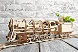 UGEARS Bundle Locomotive and Rails with Crossing Mechanical 3D Puzzle DIY Brainteaser Eco Toys