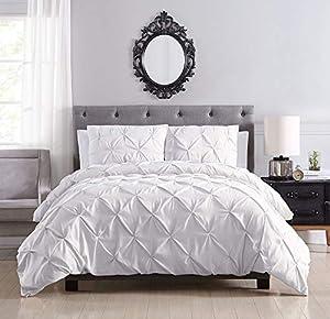 KingLinen Brunel White Pinched Pleat Down Alternative Comforter Set Full/Queen