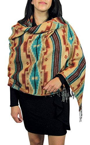 "Premium Shawl Wrap Quality Very Soft Wool Blend Throw Reversible Artisan Made from ""Handmade"""
