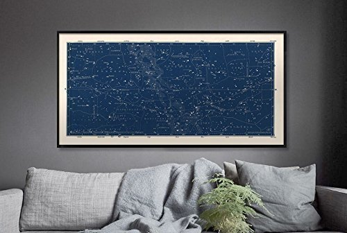 Constellation Chart (Large Horizontal Blue Constellations Map and Star Chart)