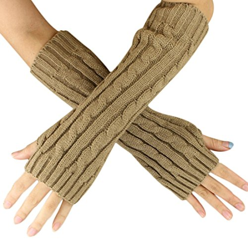 Iusun Women Ladies Hemp Flowers Fingerless Knitted Long Gloves Winter Warm Soft Wrist Mittens (Khaki)