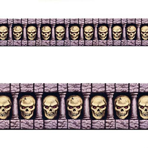 Scary Skull Halloween Horror Party Scene Setter Room Roll Border Decoration -