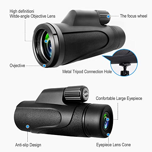 Monocular Telescope, 16X50 High Power Prism Monocular Scope with Smartphone Adapter, Waterproof for Bird Watching, Hunting, Hiking