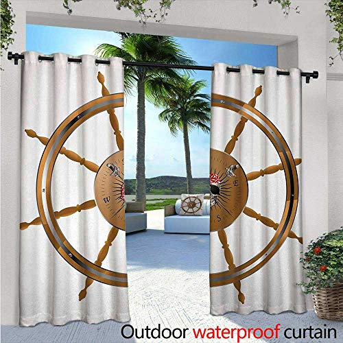 Ships Wheel Exterior/Outside Curtains Wooden Steering Wheel Image of Pirate Skull Seaman Lifestyle Ocean Inspired for Patio Light Block Heat Out Water Proof Drape W120 x L108 Brown Black - Winnie The Pooh Steering Wheel Cover