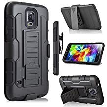 Galaxy S5 Case, Jwest Galaxy S5/S5 Neo Holster Case Full-Body Rugged Shock Proof Defender Heavy Duty Armour Tough Swivel Belt Clip Stand Case Cover for Samsung Galaxy S5 i9600(Black/Black)