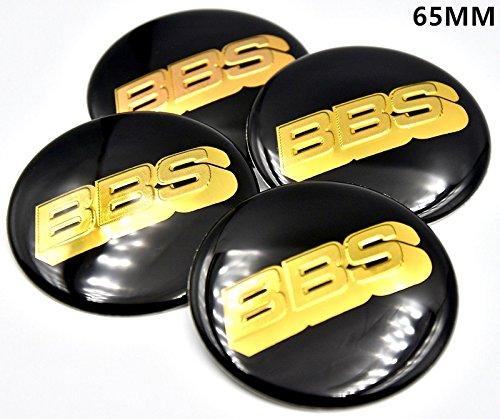 BZQq 4PCS 65mm 3D Hub Wheel Center Caps Badge Sticker For BBS (Black)