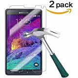 Galaxy Note 4 Screen Protector,TANTEK [Bubble-Free][HD-Clear][Anti-Scratch][Anti-Glare][Anti-Fingerprint] Premium Tempered Glass Screen Protector for Samsung Galaxy Note 4,[Lifetime Warranty]-[2Pack]