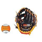 "Franklin Sports  RTP Teeball Performance Gloves & Ball Combo, 9.5"", Left Hand Throw, Black/Orange"