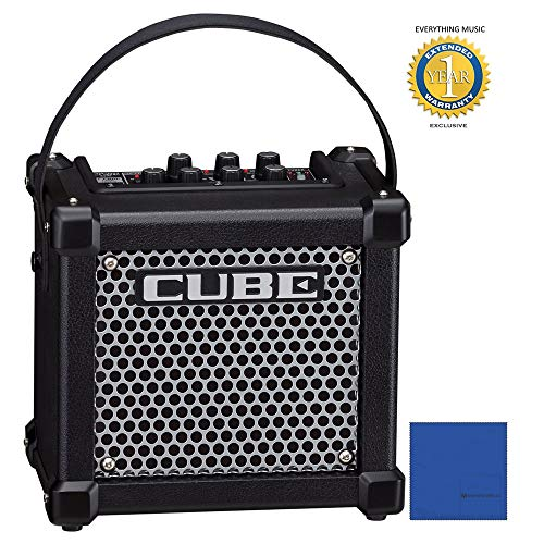 Roland M-CUBE-GX Micro Cube GX 3W 1x5' Guitar Combo Amp Black and 8 Universal Electronics AA Batteries Bundle with 1 Year Free Extended Warranty ()