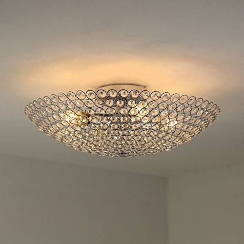 NATSEN Modern 4 Light Crystal Quality Crystal Ceiling Flush Mount Ceiling Light with chrome Backplate Ceiling Flush Mount