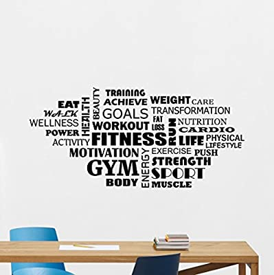 Fitness Words Cloud Gym Wall Decal Motivational Fitness Vinyl Sticker Inspirational Wall Decor Fitness Motivation Quote Sport Wall Art Training Workout Wall Mural 108fit