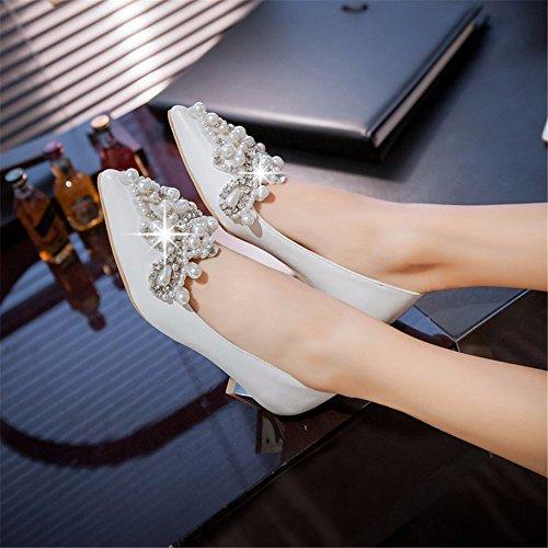 tacón fino de zapatos bajo de zapatos Solo banquetes mujer white de documental zapatos zapatos diamantes perlas los wq6Ppvxf