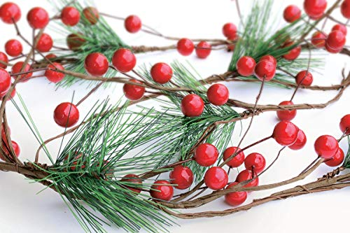 OLYPHAN Christmas Garland Red Berry, Artificial Pine Needle Holiday Greenery (Evergreen) Fireplace Décor & Home Xmas Decoration Indoor/Outdoor Decorations 6 Feet Long (6ft)