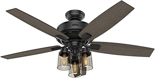 Hunter Bennett Indoor Ceiling Fan with LED Light and Remote Control, 52 , Matte Black