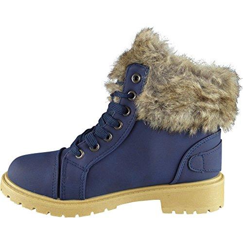 Damen Pelz Auskleidung Spitze Oben Schnalle Combat Knöchel Stiefel Größe 36-41 Blau