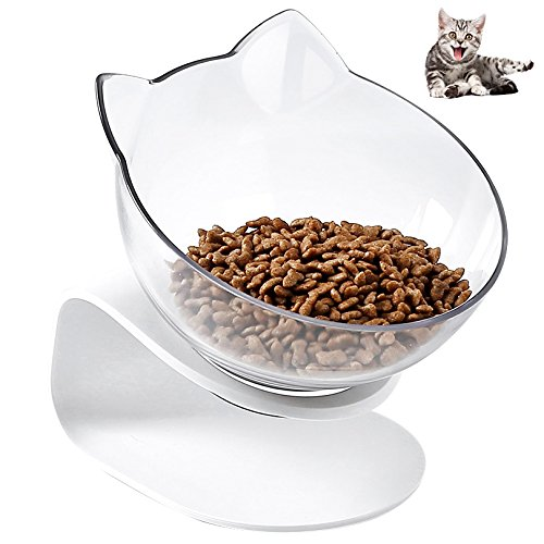 Pet Bowl AntiSlip Cat Dish Tilted Pet Feeder with Slope Base Suitable for Most Cats White and Transparent