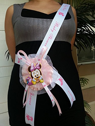 - Baby Shower Minnie Mouse Mom To Be It's a Girl Sash Pink Ribbon and Corsage