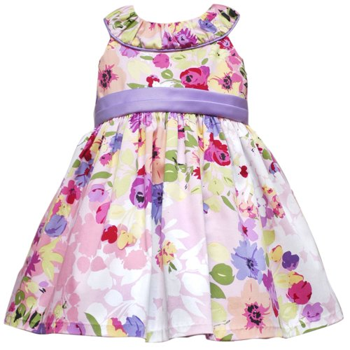 Rare Editions Baby 12M-24M Lilac-Purple Ruched Neckline Floral Print Dress
