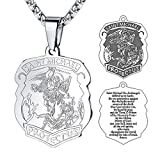 FaithHeart Saint Michael Pendant Stainless Steel St. Michael The Archangel Necklace Jewelry (Silver)