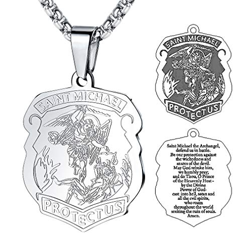 FaithHeart Saint Michael Pendant Stainless Steel St. Michael The Archangel Necklace Jewelry (Silver) ()