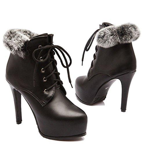 KemeKiss Warm Black Women Stiletto Booties wZRxYqgZ