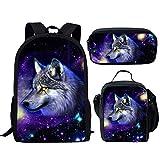 FOR U DESIGNS Galaxy Space Wolf School Bags 3 Piece Set for Teenager Boys Girls