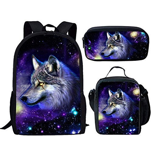 FOR U DESIGNS Galaxy Space Wolf School Bags 3 Piece Set for Teenager Boys Girls by FOR U DESIGNS