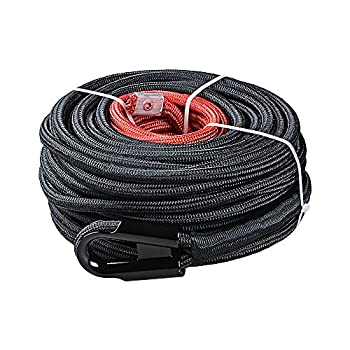 Image of Cables Synthetic Winch Rope Line Cable w/Rock Heat Guard for Recovery Truck 4x4 ATV UTV (3/8' x 85', Dark Black)