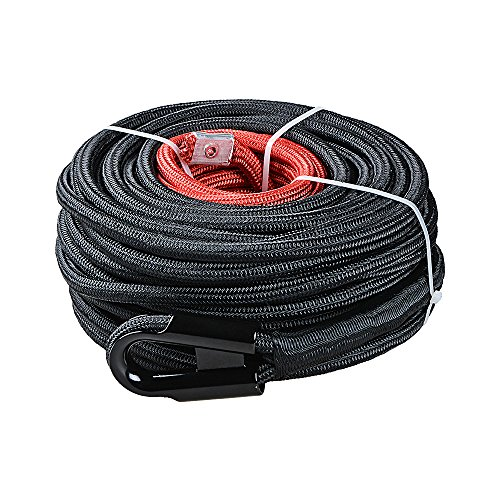 Synthetic Winch Rope Line Cable w/Rock Heat Guard for Recovery Truck 4x4 ATV UTV (3/8