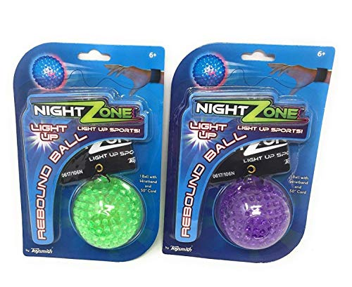 (2-Pack) NightZone Light up Sports Flash Back Rebound Ball (Colors Vary) by Toysmith