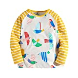 Little Bitty Girl's Autumn And Winter Style Long Sleeve Print T-Shirts Little Girls T-shirt Baby's t-shirt Casual Cotton tshirts (7-8years, Yellow and White)