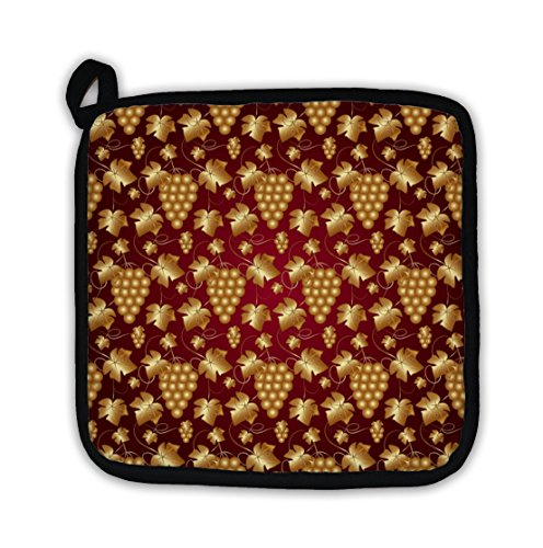 Gear New Pot Holder, Golden Pattern On Red with Grapes and Leaves, GN14568