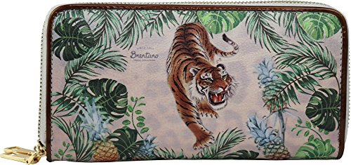 Clutch Tiger (B BRENTANO Vegan Cute Animal Graphic Wallet Clutch with Removable Strap (Tropical Tiger))