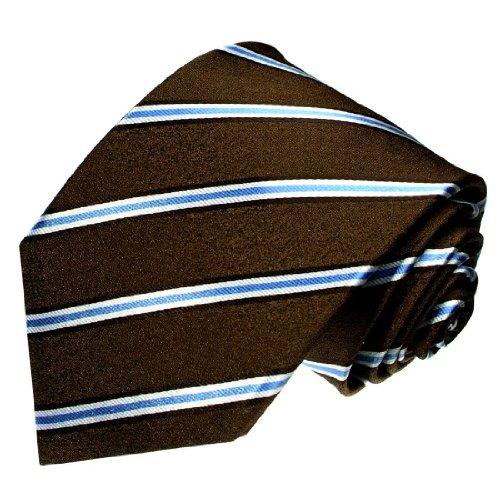 LORENZO CANA - Luxus Krawatte aus 100% Seide - Exklusiver Schlips Braun Blau Weiss Streifen Design - 84274