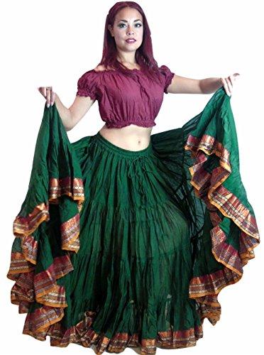 25 YARD GYPSY Bellydance Skirt, tribal fusion dance skirt, hippy boho festival (Green (Tribal Belly Dance Costumes Uk)
