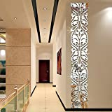 DIY Acrylic Europe Style Line Wall Sticker 3D Mirror Surface Wall Decals Modern Designed Mirrored Stickers Bedroom Living Room Hallway Decorative Home Decoration (Silver)