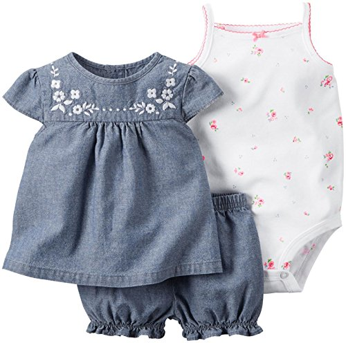 3 Piece Diaper Set (Carter's 3 Piece Diaper Cover Set, Denim, 3 Months)