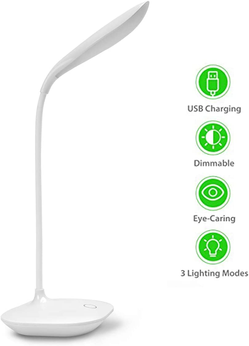 L/ámpara de escritorio panel de control t/áctil regulador de 3 niveles adecuado para lectura dormitorio l/ámpara de escritorio LED luz nocturna USB port/átil relajaci/ón cuello flexible