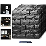 3D Wall Panels Stick and Peel, Black Brick