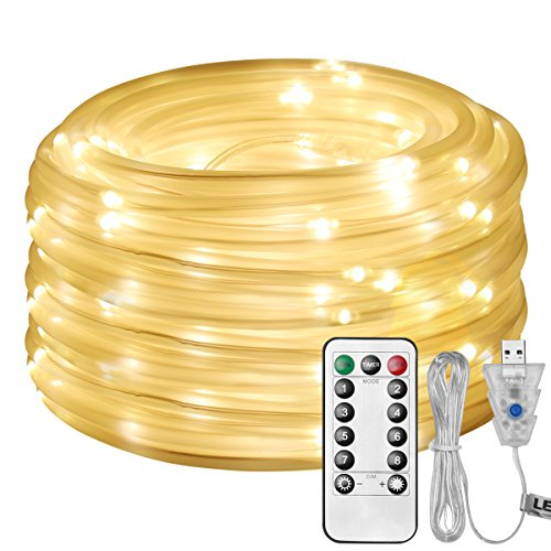 (LE LED Rope Light with Remote, USB Powered, Dimmable, Warm White, Waterproof, 33ft 100 LED Indoor Outdoor Light Rope and String for Deck, Patio, Bedroom, Pool, Boat,Camping Landscape Lighting and More)