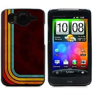 MOBILEONE HTC DESIRE HD Carcasa Trasera Rigida Aluminio Con 3x Protectores de Pantalla y Lapiz Boligrafo - Flower And Colorful Stripes