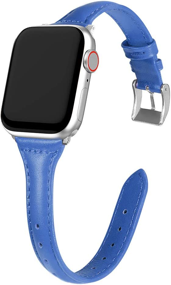 MARGE PLUS Compatible Apple Watch Band 38mm 40mm Women, Slim Genuine Leather Watch Strap Replacement for iWatch SE Series 6 5 4 3 2 1, (Dark Blue Band paired with Silver Adapter)