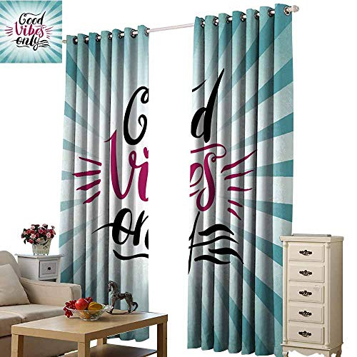 (Warm Family Good Vibes Simple Curtain Retro Radial Composition Abstract Sunburst Hand Lettering Typography Set of Two Panels W96 x L108 Teal Black Magenta)