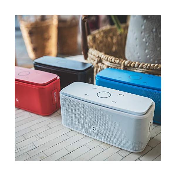 Enceinte Bluetooth 12W, DOSS SoundBox Haut-Parleur Bluetooth sans Fil Portable,Commande Tactile et Définition Stéréo, 12 Heures d'Autonomie en Lecture,Mains Libres Téléphone, Carte TF Support.- Blanc 6