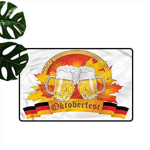 HOMEDD Outdoor Doormat,Oktoberfest Tasty Ale Beer Cheers,Anti-Slip Doormat Footpad Machine - Machine Ale Beer Beer