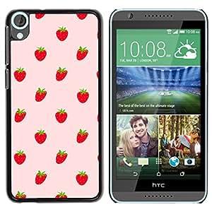 KOKO CASE / HTC Desire 820 / fresas bayas rojas wallpaper alimentos frescos / Delgado Negro Plástico caso cubierta Shell Armor Funda Case Cover